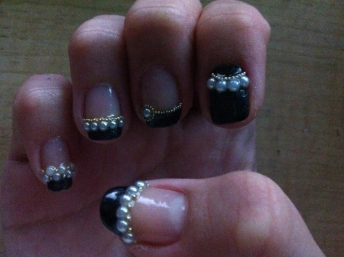 Black french tips with beads and pearls