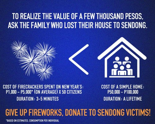 Instead of spending a fortune on fireworks that last for minutes or even seconds, you can spend it on helping our countrymen rebuild their lives for the better. You don't need fireworks to celebrate the New Year. Baby, you're already a firework! ;)   Here are some ways to help: Red Cross:SMSText REDAMOUNT to 2899 (Globe) or 4143 (Smart)G-CashText DONATEAMOUNT4-digit M-PINREDCROSS to 2882 You can donate the following denominations:Globe: 5, 25, 100, 300, 500 or 1000Smart: 10, 25, 50, 100, 300, 500 or 1000 Bank accounts for Donations:Banco De Oro:Peso: 00-453-0018647Dollar: 10-453-0039482Bank of the Philippine Islands:Peso: 4991-0036-52Dollar: 004994-0103-15Metrobank:Peso: 151-3-041631228Dollar: 151-2-15100218-2Philippine National Bank:Peso: 3752 8350 0034Dollar: 3752 8350 0042Unionbank of the Philippines:Peso: 1015 4000 0201Dollar: 1315 4000 0090** All Check/Cash for the account of Philippine Red Cross (Swift Codes) **Banco De OroBNORPHMMBank of the Philippine IslandsBOPIPHMMMetrobankMBTCPHMMPhilippine National Bank-PNBMPHMMUnionbank of the Philippines-UNPHPHMM SAGIP Kapamilya:ABS-CBN Regional Stations:ABS-CBN Cagayan De OroBarangay Bulua, Cagayan De Oro CityABS-CBN DavaoShrine Hills, Matina, Davao CityFOR CASH DONATIONS1. BDO Peso AccountAccount name: ABS-CBN Foundation Inc.-Sagip KapamilyaAccount Number: 39301-14199Swift Code: BNORPHMM2. BDO Dollar AccountAccount name: ABS-CBN Foundation Inc.-Sagip KapamilyaAccount Number: 39300-81622Swift Code: BNORPHMM3. PNB Peso AccountAccount name: ABS-CBN Foundation Inc.-Sagip KapamilyaAccount Number: 419-539-5000-13Swift Code: PNBMPHMM4. BPI Peso AccountAccount name: ABS-CBN Foundation Inc.-Sagip KapamilyaAccount Number: 3051-1127-75Branch: West Triangle, Quezon CitySwift Code: BOPIPHMM5. BPI Dollar AccountAccount name: ABS-CBN Foundation Inc.-Sagip KapamilyaAccount Number: 3054-0270-35Branch: West Triangle, Quezon CitySwift Code: BOPIPHMM   Have a safe and fulfilling 2012, everyone! :)