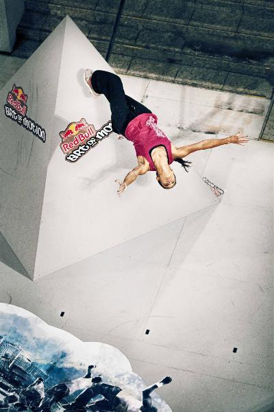 Shot of a traceuse's wallflip at Redbull's Art Of Motion.