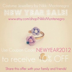 New Year Sale! www.etsy.com/shop/nikkimontenegro 😍 #sale #sales #shopping #style #fashion #jewelry #jewellery #accessories #flowers #flower #floral #rings #necklaces #earrings #brooch #bracelets #bows #hairbows #pastels #etsy #handmade #designer #australian #sydney #vintage #aliceinwonderland #whimsical  (Taken with instagram)