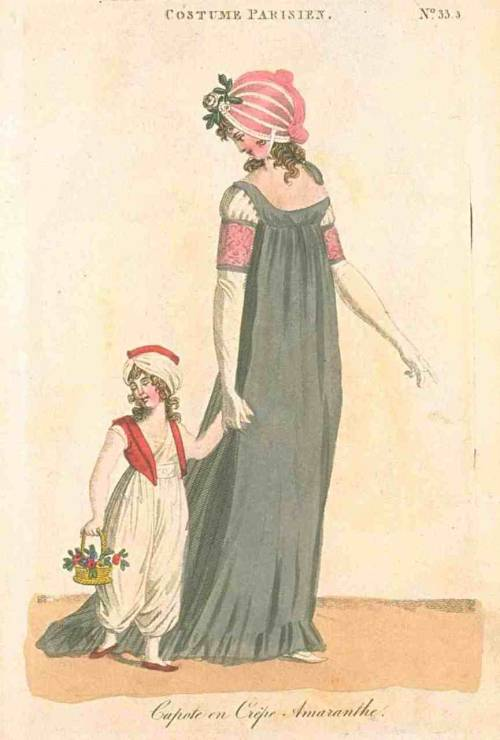 Journal des Dames et des Modes (published in Fashions of London and Paris), 1800. Bonnet lust.