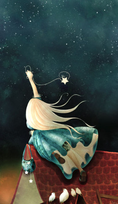 sohma-g:  farewell-kingdom:The little catcher of stars by Cathy Delanssay
