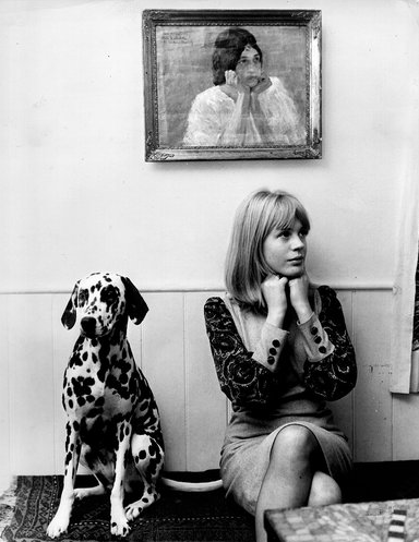 "John PrattMarianne Faithfull with her pet Dalmation1967 (via ""Marianne Faithfull, as Years Go By"" @ NYT)"