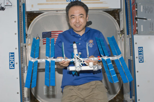 Astronaut Satoshi Furukawa displaying the Lego International Space Station model he constructed aboard… the International Space Station.