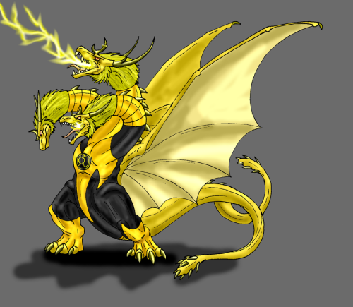 Yup…I love this. regeek:  Yellow lantern Ghidorah By Scatha the Worm