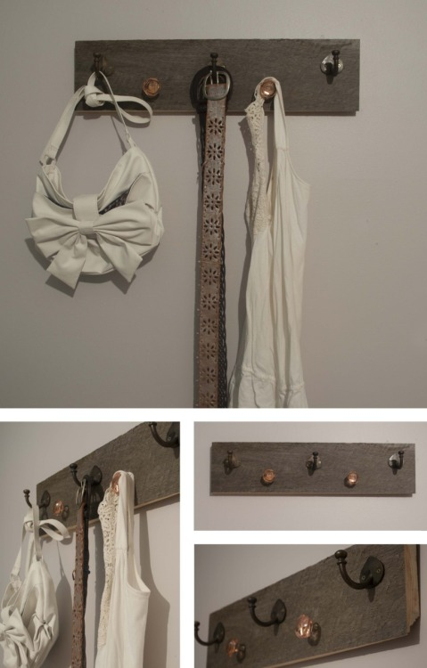 I recently worked on a custom coat rack project. My client really liked my cork board with knobs, but didn't necessarily know if she had space/need for the cork part. Together, we came up with the solution seen above. I think it turned out beautiful, and she loved it, too!  I salvaged the wood from the local sawmill here in town, trimmed it down, sanded the back, and attached the knobs and hooks to create a beautiful and functional piece.