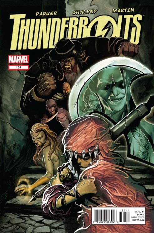 Thunderbolts #167, February 2012, written by Jeff Parker, penciled by Declan Shalvey