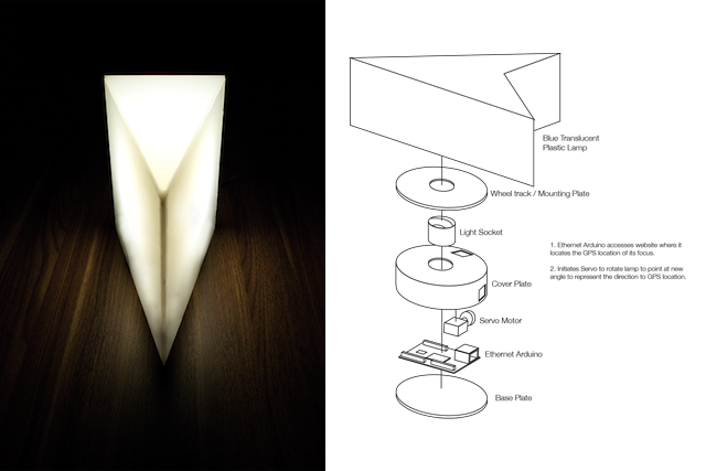 Taking inspiration from this lamp idea (left), by Andreas Müller - his lamp goes from on -> dims -> off according to its orientation to pointing North. My adaptation is to build the variation on the right that uses a servo motor to automatically point the Navigation Pin at whatever the object of your affection, via Google Latitude.