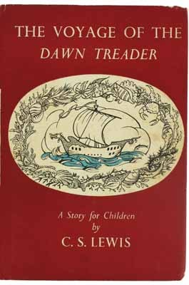 The Voyage of the Dawn Treader. Lewis (C.S.)  FIRST EDITION, line-drawings throughout, some full-page, by Pauline Baynes, pp. 224, cr.8vo., original pale blue boards lightly stained, backstrip lettered in silver, front endpaper maps, dustjacket just a little frayed, mainly to head and tail of backstrip panel which is unfaded, with faint browning to the white area on the backstrip panel and the rear panel a little soiled, but overall in much better state than is usual with this work, very good
