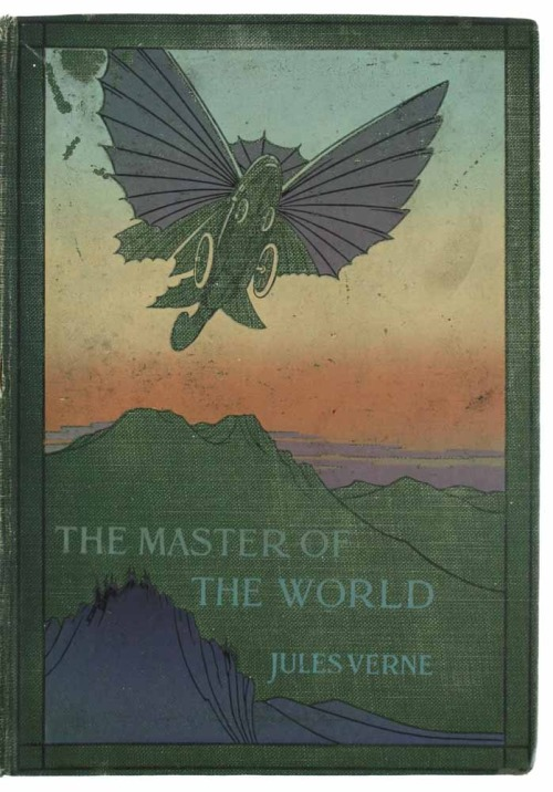 The Master of the World Jules Verne. Sampson Low, Marston & Co. [1914](Original publication date of story:  1904)  Description: FIRST ENGLISH BOOK-FORM EDITION, 30 plates, a neat early pen scribble to half-title and front endpapers, one plate and facing page with a small stain, a little light foxing to edges, pp. 317, [3], 8vo, original green cloth, pictorial spine and front board blocked in colour, spine also lettered in gilt (dulled), a little rubbed (causing slight loss to colouring on front board), spots of wear to joint ends and a short split at head of spine, good  Notes: One of Verne's last novels - originally published in French in 1904, it was only followed by 'Invasion of the Sea' before the author's death in March 1905. A poor-quality anonymous translation was included as part of a 1911 New York set of Verne's works, and then this much better translation (also anonymous, but by Cranstoun Metcalfe) was serialised in the Boy's Own Paper before this first publication in book format. The cover departs from the traditional black-and-gilt pictorial blocking style of earlier Verne translations with a dramatic colour gradient.