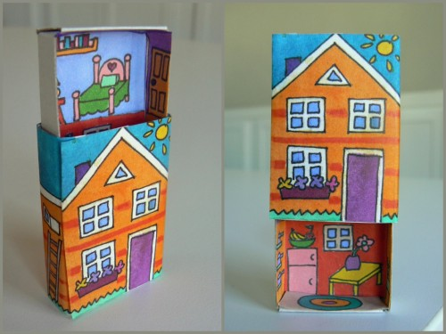 DIY Upstairs Downstairs Matchbox. PDF Download template for the inside and outside illustrations. Sharpies used :) Also, a glue stick was used (I learned my lesson about that with my 52 Reasons I love you Card Deck here). Tutorial, PDF Download at Homemade City here.