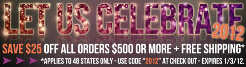 Let us celebrate 2012 with a SALE!