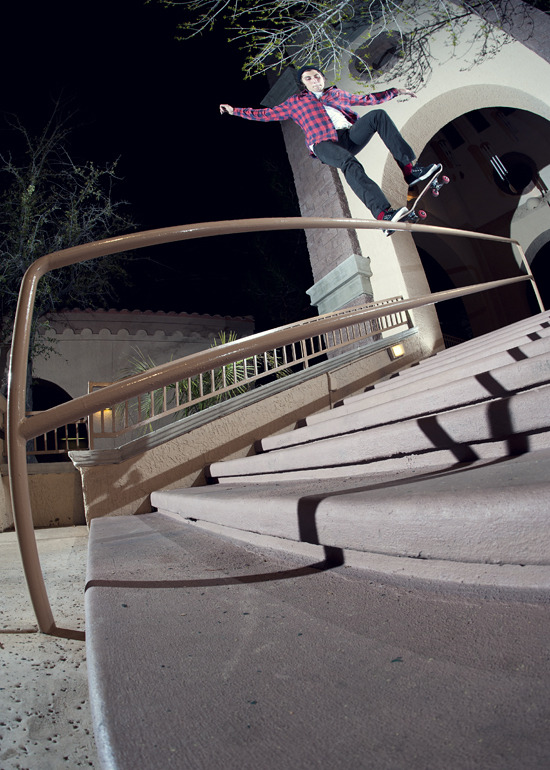 Tom Karangelov_frontside nosegrind - Las Vegas, NV 2011   (click photo to watch his new vid)