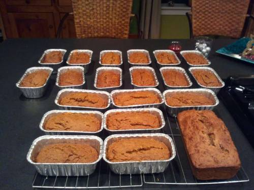 No budget for presents = everyone gets baked goods!  Vegan Pumpkin Bread Yield: One full-size loaf or four mini-loavesPrep time: 10 minutesBake time: 35-65 minutes (depending on size)  Ingredients: 1c whole wheat flour 1c all-purpose flour 1/4c corn starch (or add'l all-purpose flour) 1 tsp baking soda  3/4tsp salt  1 tsp ground cinnamon  1 tsp ground ginger  1/2 tsp ground cloves  1/8 tsp ground nutmeg  1/4 tsp allspice  1/8 tsp ground cardamom  1 can pumpkin (15oz)  1c sugar (for vegan use pure cane sugar)  1/4c oil + 1/4c applesauce (or 1/2c oil)  1/3 c water  2 Tbsp flax meal + 6 Tbsp warm water  Pre-heat the oven to 350 degress. Grease the pan(s). In a small bowl, whisk the flax meal and warm water. Set 	aside for about five minutes. In a medium-sized bowl, sift together all-purpose flour, 	whole wheat flour, cornstarch, baking soda, salt and spices. In a second medium-sized bowl, combine flax meal mixture, 	oil, applesauce & sugar. Whisk until well blended. Add 1/3 cup 	water and pumpkin, whisk thoroughly. Start adding dry ingredients; 	folding or stirring gently to avoid over-mixing. Pour batter into pan(s). Bake mini-loaves for about 35 	minutes, or 65 minutes for the full-sized loaf. Test with toothpick.  Let cool for 15 minutes and  you're ready to go!  (adapted from this poorly written & organized recipe)