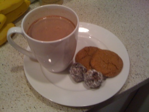 Snack for a rainy afternoon. Peppermint cocoa (Thanks for the gift, Santa!) + holiday cookies and rum balls.