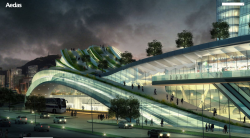 Express Rail Link West Kowloon Terminus by Andrew Bromberg of Aedas: The best revenge against incompetence of the Hong Kong government to build a landmark proper in West Kowloon is to build one right next to it.