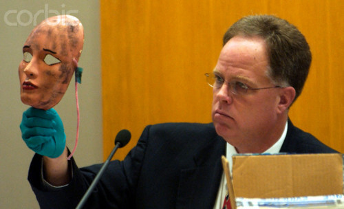 Wichita Police Det. Sam Houston shows a mask in Dennis Rader's sentencing hearing that was found with Deloros Davis' body.