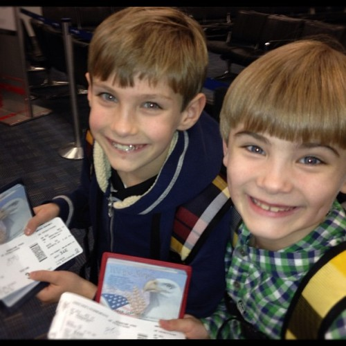 Little Diplomats Boarding the Plane (Taken with instagram)