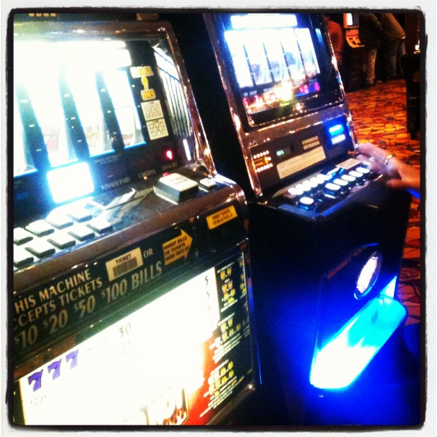 Playing the slots.
