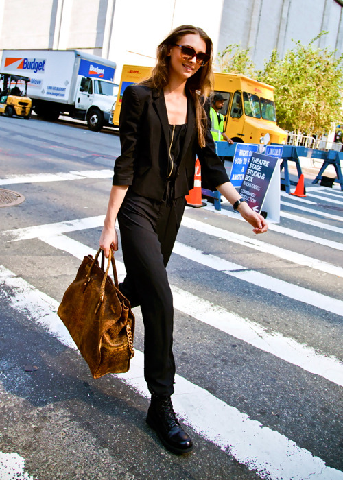 bonaelamour:  Daga Ziober (in) Model's Street Style After Michael Kors SS 2012, Lady Daga was rushing and on the move, but still offered a smile. =)