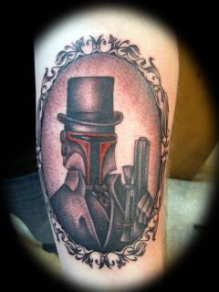 kickdoutofthehood:  A better picture (FYI I'm so stoked!) Boba Fett by Pat Cohen, Twisted Ink Tattoos Cobleskill, NY.  Just over a year old and still looks amazing!