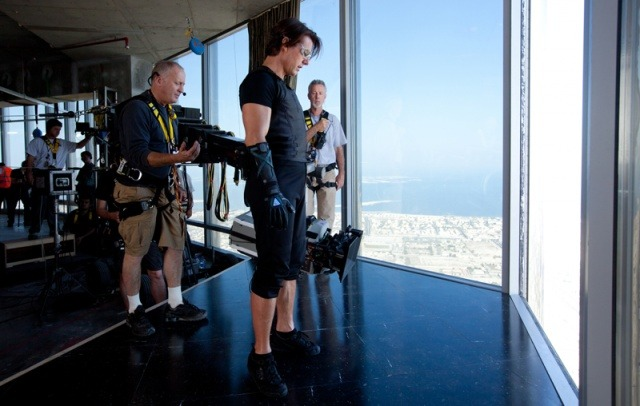 Tom Cruise on the set of Mission Impossible 4: Ghost Protocol.