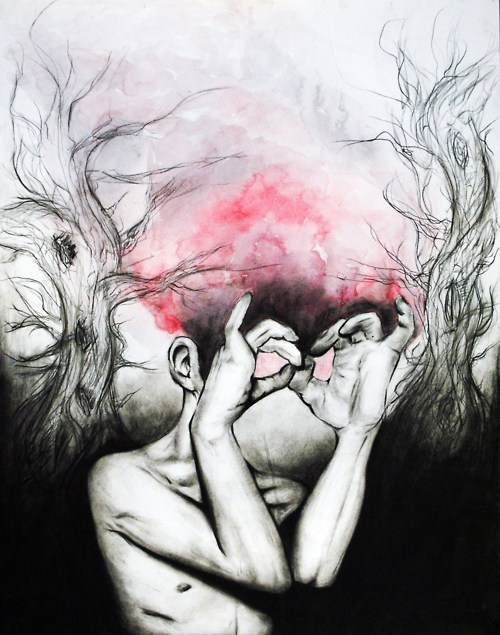 eatsleepdraw:  Charcoal and watercolorhttp://kaytherapist.tumblr.com :)