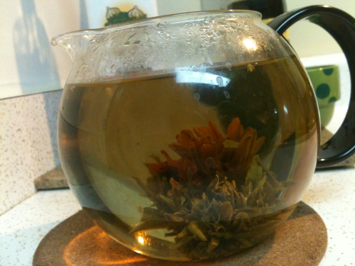 I love my tea flowers I got for Xmas!:) this one is called Emerald Stone and it's green tea and a chrysanthemum flower. It's amazing!:)