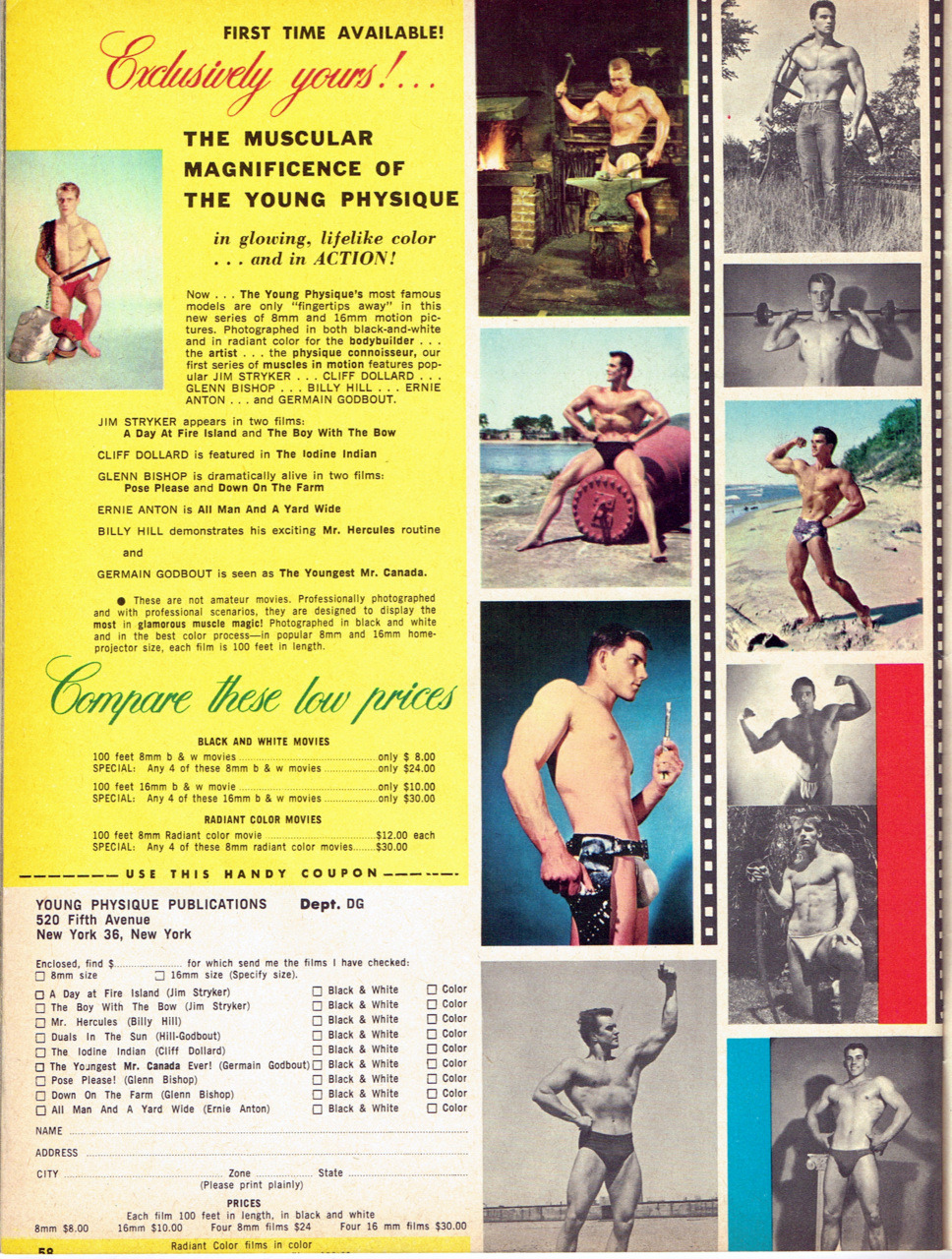 Young Physique Publications ad, 1962