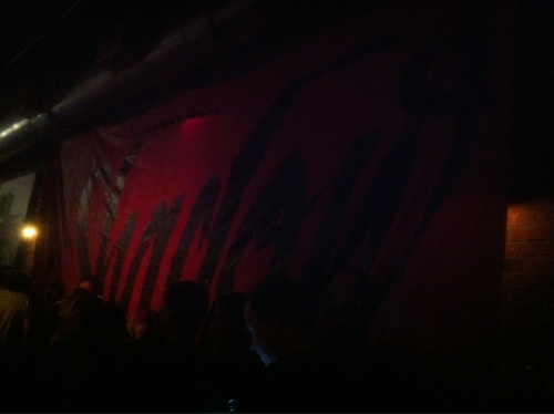 The massive Shadow banner at the Tractor Tavern hanging for Shadow's show. It had to be at least 15x30.