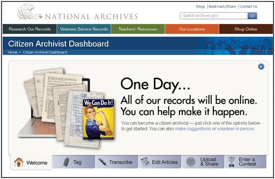 aotus:  Together We Can Do It! We just launched the Citizen Archivist Dashboard (http://www.archives.gov/citizen-archivist/).  We encourage you to get involved in elevating the visibility of the records of the United States. Did you know that many grade school children aren't taught cursive handwriting anymore and can't read cursive?  Help us transcribe records and guarantee that school children can make use of our documents.  I have transcribed one myself! Read more on the AOTUS blog…