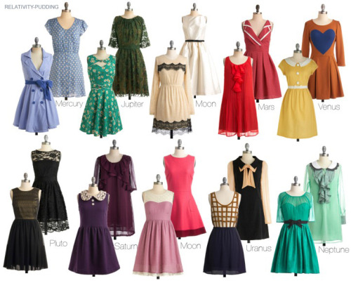 A Sailor Senshi-inspired dress chart because Modcloth.com is ruining my life. More sets.