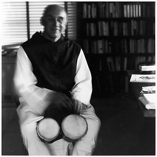 Ralph Eugene Meatyard, Thomas Merton Playing Bongos, 1968. Thank you, uncertaintimes & catherinewillis.