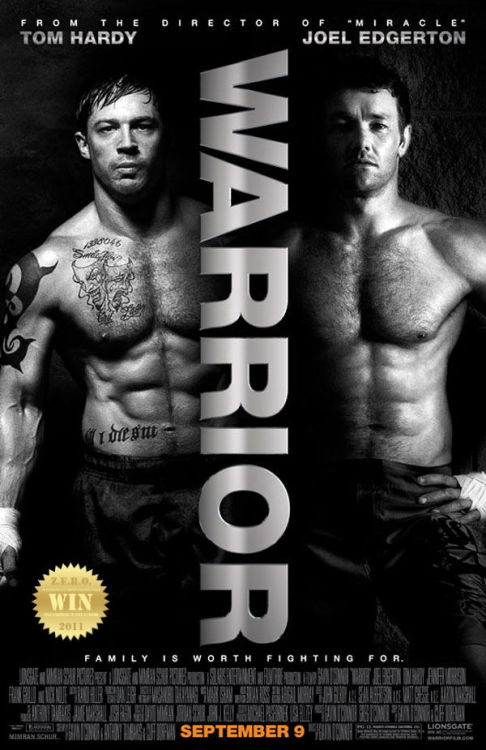 "Warrior (2011) The youngest son of an alcoholic former boxer returns  home, where he's trained by his father for competition in a mixed  martial arts tournament - a path that puts the fighter on a collision  corner with his older brother. They've come to FIGHT! and FIGHT they will! MMA has come a long way from something shunned in a guilty pleasure corner, slowly inching it's way into mainstream media. Vicious brethren foes are Tom Hardy and Joel Edgerton - both giving commendable performances. The drama and confrontations were grand and superb. Nick Nolte destroyed me with his shaky/regretful old man eyes. I almost shed a tear. The man is a living legend. WHAT??? Kurt Angle as the ultimate asskicker ""KOBA""! WWE fans will love this. This surprised me with a left hook! The story had guts, the battles had glory and in the end my heart was full. Hope, Love, Respect and Pride are all put in a ring and guarantee to entertain. Wanna fight? You got it!"