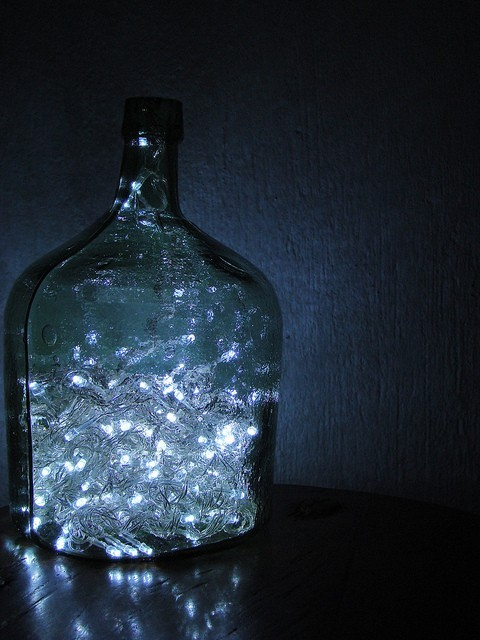 LED Christmas Lights in a Glass Jar