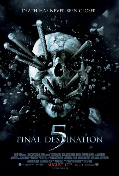 Final Destination 5 (2011) P365 Film #362 I'm actually a big fan of the first film, Final Destination (2000). I think it had a really clever concept and it's a fun and suspenseful movie. I also like the sequel, Final Destination 2 (2003). It's not as good as the first one, of course, but I liked how it took the original concept and took it to the next level. However, the next three sequels are pretty much crap. They feature a whole bunch of young unknown actors and are really formulaic. The acting and dialogue in this one was probably the worst yet. There were a couple of death scenes that gave me a good chuckle, but it's all a bit old hat now. The disaster scene at the beginning was quite well done, I'll admit. Mostly. I sort of liked how they tied it back to the original, although it felt a bit cheap. I can't recommend this much at all.