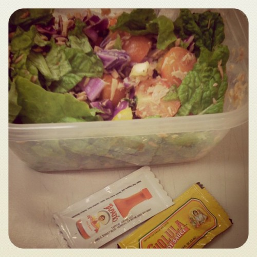 Tuna Salad for lunch, courtesy of my #LA homiez for the hot sauce packets ^_^ #Tapatío #Cholula #Hot #Sauce #FTW  (Taken with Instagram at 세종문고)