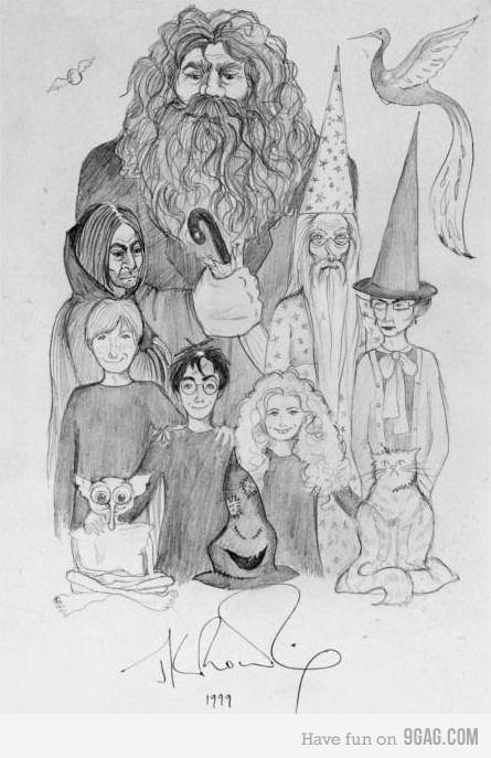 J.K. Rowling's doodle on the Harry Potter series back in 1999? AMAZEBALLS! Now that's how I initially imagined them to be =)