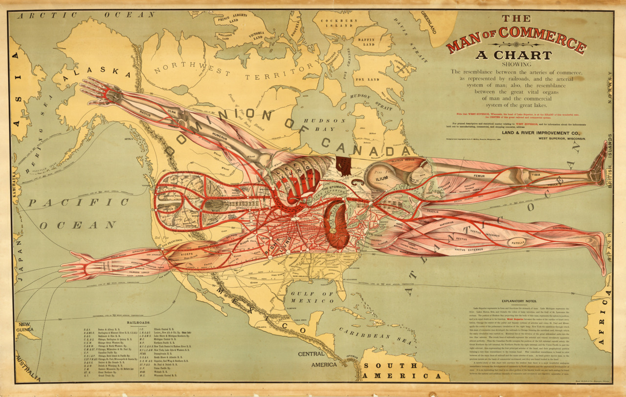cartographymaps:  Augustus F. McKay, 1889, The Man of Commerce   that is amazing!!