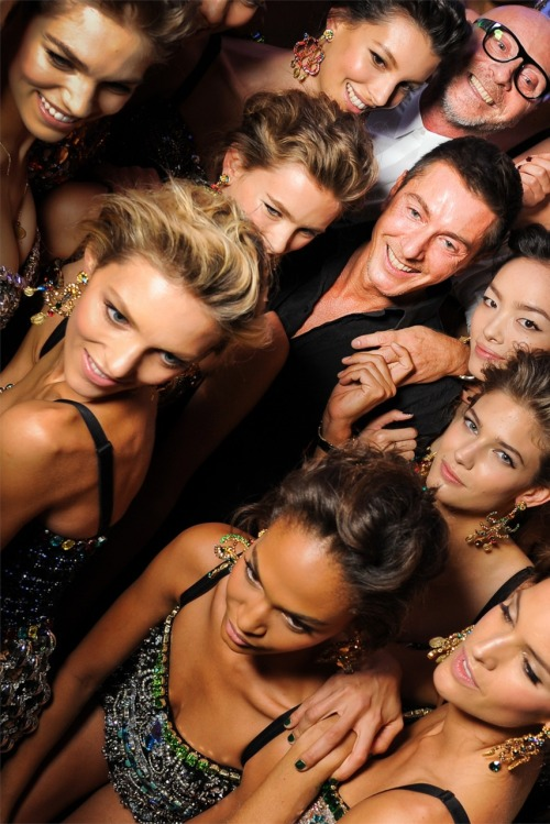 Domenico Dolce and Stefano Gabbana backstage with models @ Dolce & Gabbana Spring 2012
