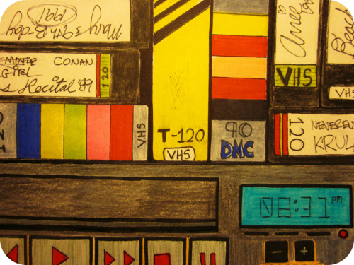 """VHS Memories"" (A Classique Doodle from 12/27/2011) A generation of memories, recorded on magnetic tapeGood moments to savour, and bad ones to escape.Static-y audio and dull palettes that bled,All fading away on a format that's dead. Your life painstakingly recorded so you can remember it always,On cheap tape that rots on a shelf, and no longer plays.Temporary technology meant the recordings don't lastSo all of our VHS memories have been left in the past. As more times passes, your youth becomes harder to recallAnd now there's no proof you had a childhood at all. Originally Posted 12/27/2011 Wanna star in your very own Daily Doodle?  CLICK HERE!FAQ  TWITTER  FACEBOOK  SOCIETY6"