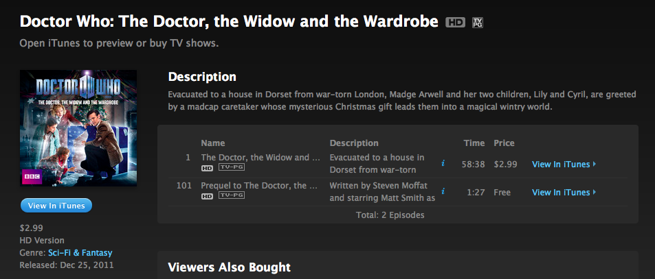 doctorwho:  The Doctor, The Widow, and The Wardrobe now available on iTunes (US) Miss the Doctor Who Christmas Special this weekend? You can now grab it on iTunes ($2.99.)   Nerdist Year is Review is up as well!