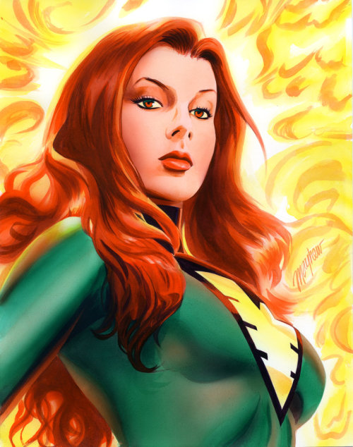 bossbattle:  Jean Grey Phoenix Commission by Mike Mayhew Almost a little bit of Bruce Timm in the facial proportions. Loved Mike's work on Green Arrow.