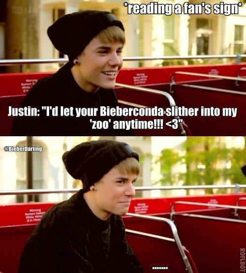 """teambieber-alwaysandforever:  *reading a fan's sign Justin: """"I'd let your Bieberconda slither into my 'zoo' anytome!!!<3""""  My face looked just like justin at the bottom when I first read this… lol!"""