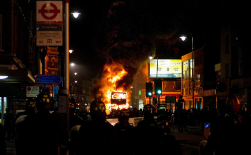 """Cars being destroyed in [2011] London riots,"" by autoviva"
