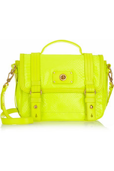 Love this shit.  designersocial:  Marc by Marc Jacobs Neon croc-effect leather shoulder bag for $495 at Net-A-Porter.com. -JK [via Net-A-Porter.com]