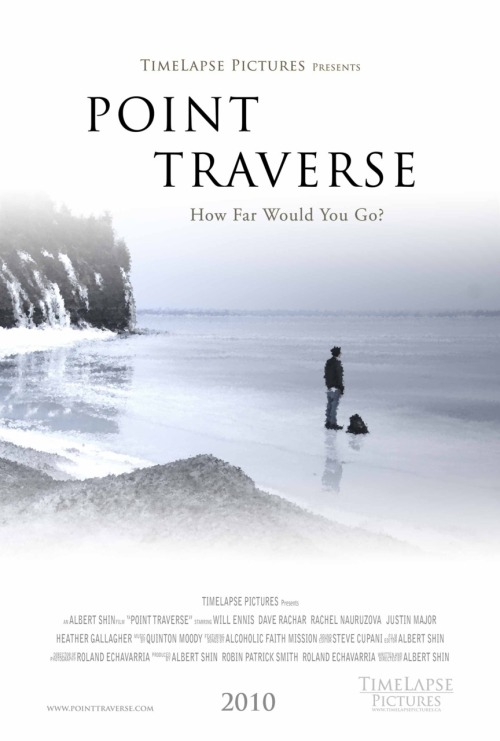 POINT TRAVERSE tells the story of two childhood friends, Adwin and  Cael, who have followed separate paths in life. Adwin leads a solitary  life as the manager of a little restaurant in a small town, while Cael  has become a drifter, aimlessly wandering the Earth in hopes of  something better. After both men have a chance encounter with an  ill-fated loner, the two embark on a journey of self- discovery that  forces them to see that the rules governing their lives were made to be  broken. URL: http://www.pointtraverse.com/Directors: Albert Shin Writers: Albert Shin Cast: Will Ennis,          Dave Rachar,          Rachel Nauruzova,          Heather Gallagher https://www.thewatchbox.com/movies/11-point-traverse  www.facebook.com/thewatchbox www.twitter.com/thewatchbox
