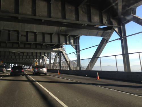 The bridge, the road, and the bay.   80 East.