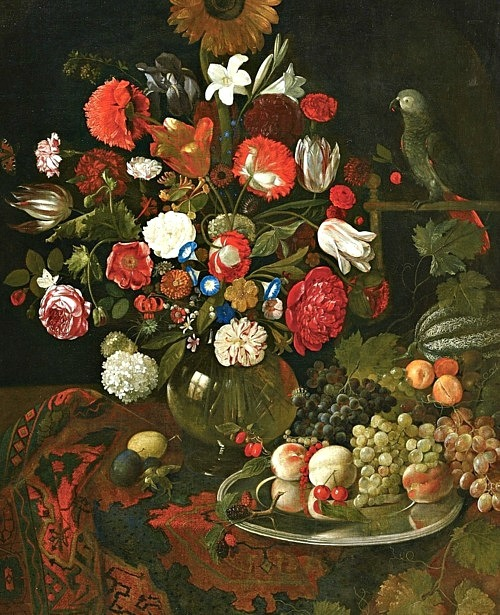 Jakob Rootius Flowers, Fruit and a Parrot 17th century