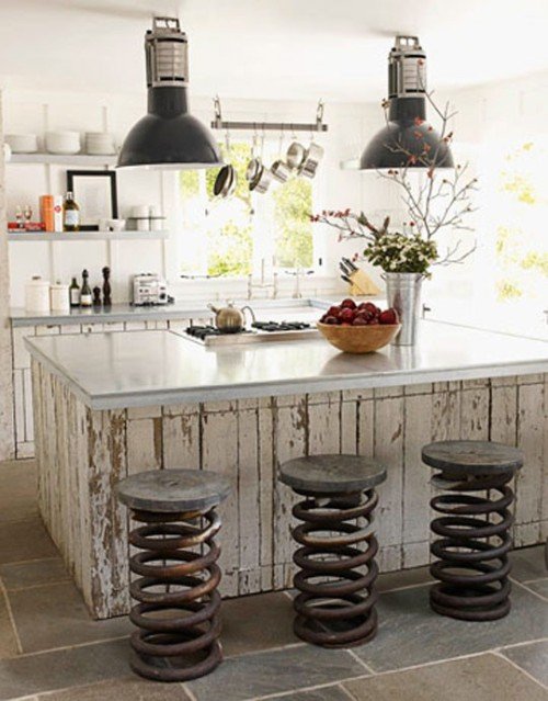 pictorialdesign:  Repurposed truck springs as bar stools.